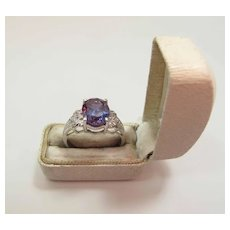 Vintage 14K Gold 2.8 Carat Vividly Colored Tanzanite & Diamond Cocktail Ring