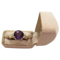 Vintage 14K Yellow Gold Alexandrite And Diamond Ring