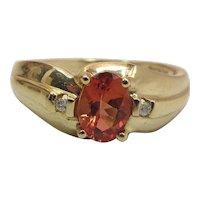 Vintage 14K Gold Orange Spessartite Garnet And Diamond Ring