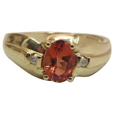 Vintage 14K Gold Orange Spessartite Garnet And Diamond Ring