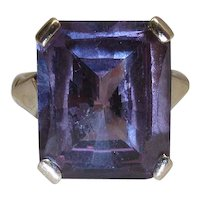 14K Gold 16.5 Carat Synthetic Color Change Fancy Cut Sapphire Cocktail Ring