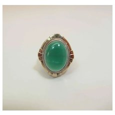 Vintage Art Deco Sterling Silver Vermeil Fine 6.5 Carat Chrysoprase Ring