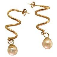 Graceful 14K Yellow Gold & 8-mm Pearl Corkscrew Spiral Post Earrings