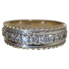 Vintage 14K Yellow Gold .85 Carat Engagement / Band Style Multi - Diamond Ring
