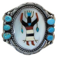 Vintage Stone Inlaid Sterling Silver Dancer Cuff Bracelet Signed R. B. Navajo