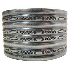 Vintage Mid-Century Navajo Native American Hand Stamped Silver Cuff Bracelet