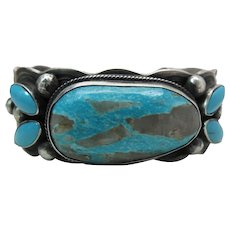 Chunky Vintage Chimney Butte Navajo Silver & Turquoise Cuff Bracelet