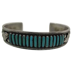 Vintage Dave & Celia Nieto Zuni Silver & Turquoise Cuff Bracelet
