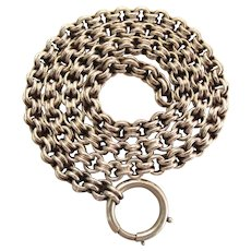 Antique Victorian Silver Double Belcher Link Chain Necklace With 18-MM Bolt Ring