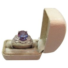 14K Gold 2.5 Carat Synthetic Color Change Sapphire & Diamond Cocktail Ring