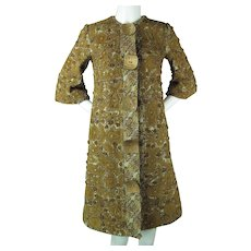 Wonderfully Textured Vintage Petrou Coat With Beads, Sequins & Leather Appliqués