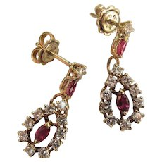 Elegant Vintage 14K Yellow Gold Natural Ruby & Diamond Cluster Post Earrings