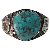 Vintage A. Payton Navajo Stamped Silver & Turquoise Cuff Bracelet With Buffalo