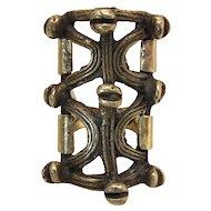 Extravagant Handmade Mid Century Modernist 18K Gold & Brass Ring