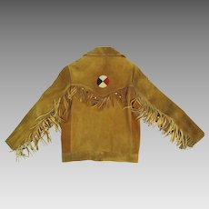 1960's Heavy Suede Jacket W/ Beaded Fringe & Red, White & Blue Leather Appliqué