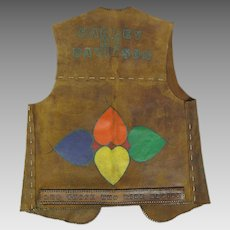 Decorated 1960's Vintage Leather Harley Davidson Motorcycle / Biker's Club Vest