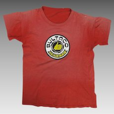 1970's Vintage Thin Faded Red Bultaco Motorcycle T Shirt