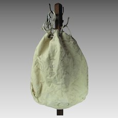 Vintage Heavy White Cotton Canvas U.S. Mail Bag With Drawstring Top & Steel Hasp