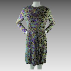 1970's Vintage Emilio Borghese Psychedelic Print A-Line Polyester Jersey Dress