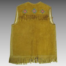 1950's Native American Beaded & Fringed Suede Vest With Soft Calico Lining