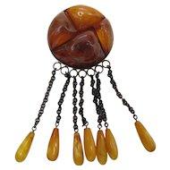 Antique Natural Specimen Amber Brooch / Pin With Fringe