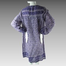 1970's Vintage Gauzy India Print Cotton Dress In Shades Of Purple & Violet