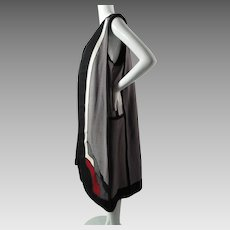 Dramatic 1970's Vintage g. girvin Art Deco Style Long Pieced Canvas Vest