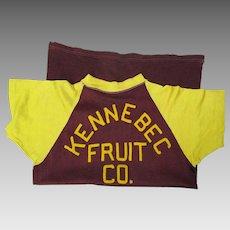 1940's Felt Lettered Rayon Raglan Shirt Kennebec Fruit Co. The Maine Moxie Store