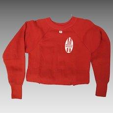 1950's Vintage Dead Stock Hanes Red Cotton Windshield Sweatshirt W/ Store Tags