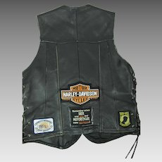 Vintage Side-Tie Harley Davidson Vest With Patches & Pins / Badges Connecticut