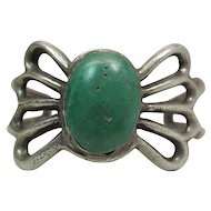 Vintage Circa 1940 Navajo Sand Cast Silver & Green Turquoise Cuff Bracelet