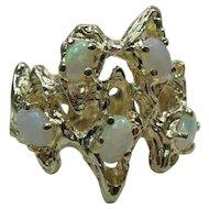 Vintage 14K Gold Five Opal Modernist Cocktail Ring