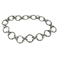 Heavy Vintage Necklace Of Solid 1-Inch Twisted & Smooth Sterling Silver Rings