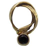 Vintage Hammered 18K Gold & Hot Pink Tourmaline Modernist Knot Pendant - Signed