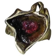 Vintage Modernist 14K Yellow Gold Watermelon Pink Tourmaline Ring