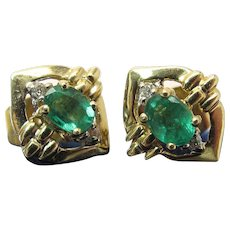 14K Gold Oval Natural Emerald & Diamond Post Earrings