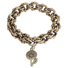 Heavy Vintage 8 1/2-Inch Fancy Link Silver Bracelet W/ Vintage James Avery Charm