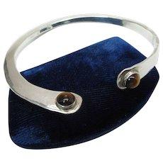 Vintage Mid-Century Modernist Hammered Sterling Silver & Tiger Eye Cuff Bracelet