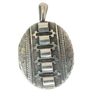Elaborate Antique Victorian Sterling Silver Locket Pendant