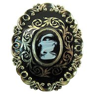 Early Victorian Enameled 14K Gold Mourning Brooch With Pâte Sur Pâte Ornament