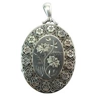 Beautiful Antique Victorian Sterling Silver Locket Pendant 2 3/8-In. 13.9 Grams