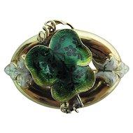 Antique Art Nouveau Guilloche Enameled 14K Gold Watch Pin By Hamilton & Hamilton