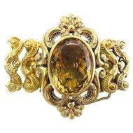 Grand Antique Victorian 14K Gold & 50 Carat Natural Citrine Bracelet