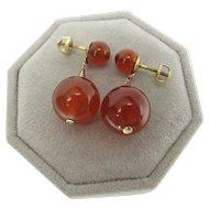 Vintage 14K Gold Carnelian Threaded Post Dangle Earrings