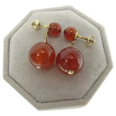 Vintage 14K Gold Carnelian Threaded Post Dangle Earrings