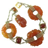 Art Deco Chinese 14K Gold, Orange Jadeite, Carnelian & Pearl Bracelet W/ Monkey