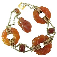 Art Deco Chinese 14K Gold, Orange Jadeite, Carnelian & Pearl Bracelet W/ Monkey