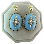 Antique Victorian Carved Blue Enameled 14K Gold Dangle Earrings With Seed Pearls