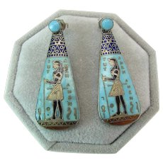 Art Deco Enameled Silver Egyptian Revival Day - Night Earrings W/ King Tut