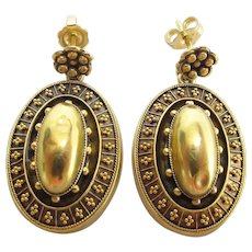 Antique 15K Yellow Gold Etruscan Style Dangle Post Earrings